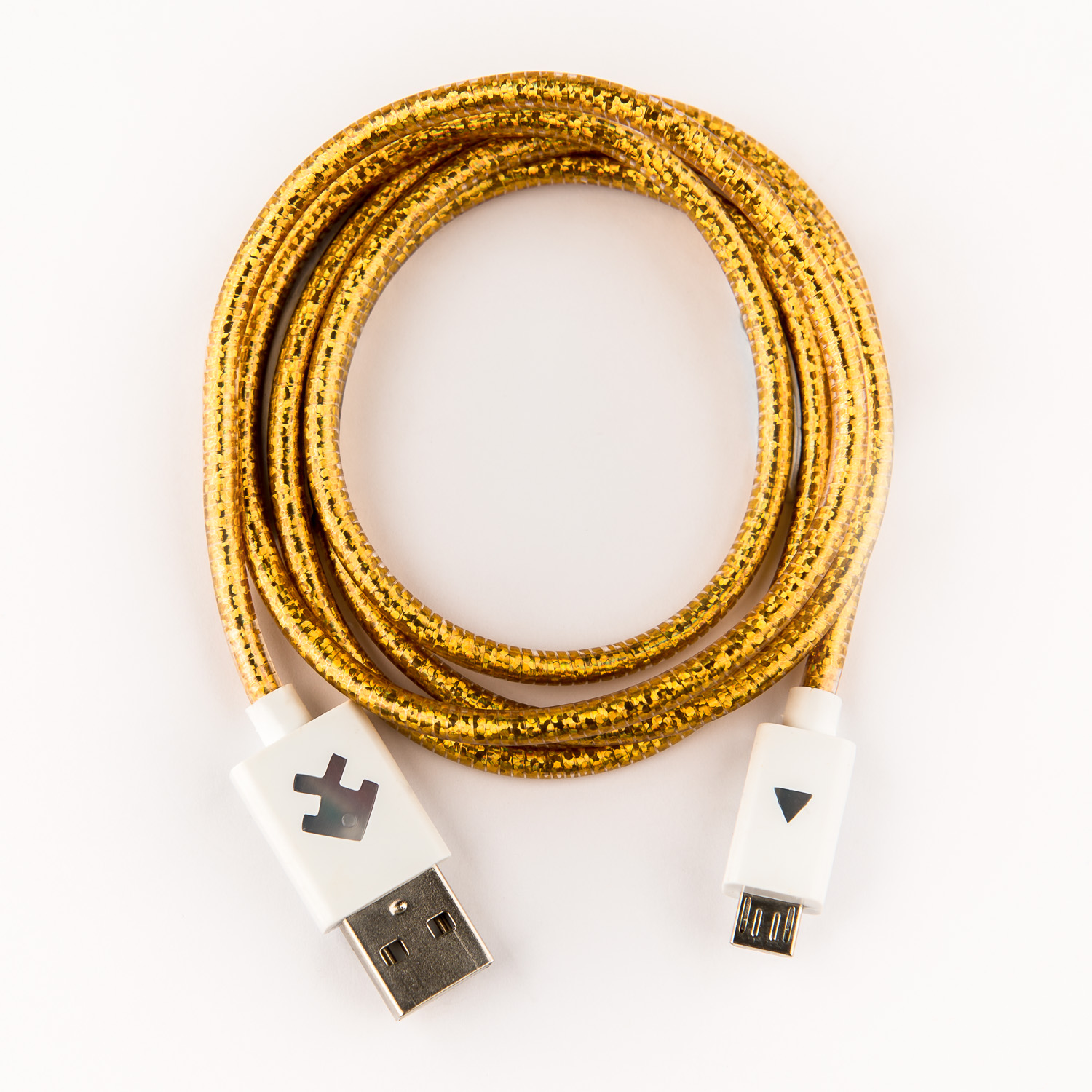 Xcyte Ultra fast Android USB recharge cable (GOLD GLITTER) – 1 metre