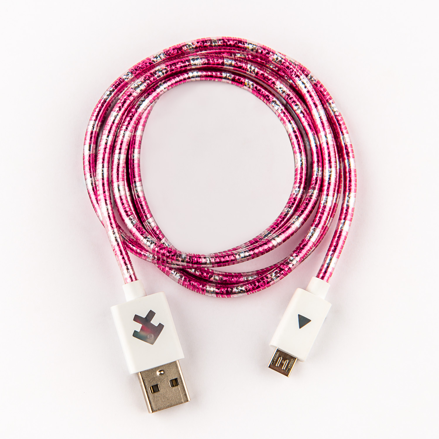 Xcyte Ultra fast Android USB recharge cable (PINK/SILVER) – 1 metre